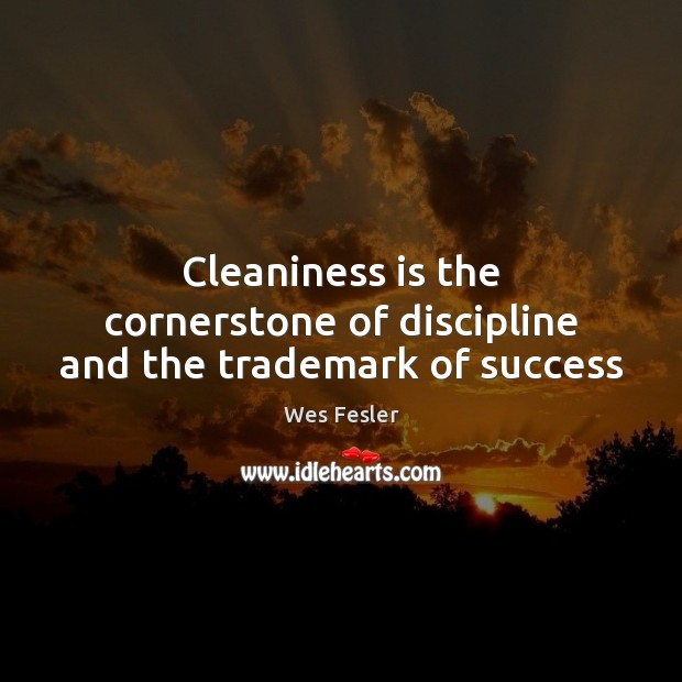 Cleaniness is the cornerstone of discipline and the trademark of success Wes Fesler Picture Quote