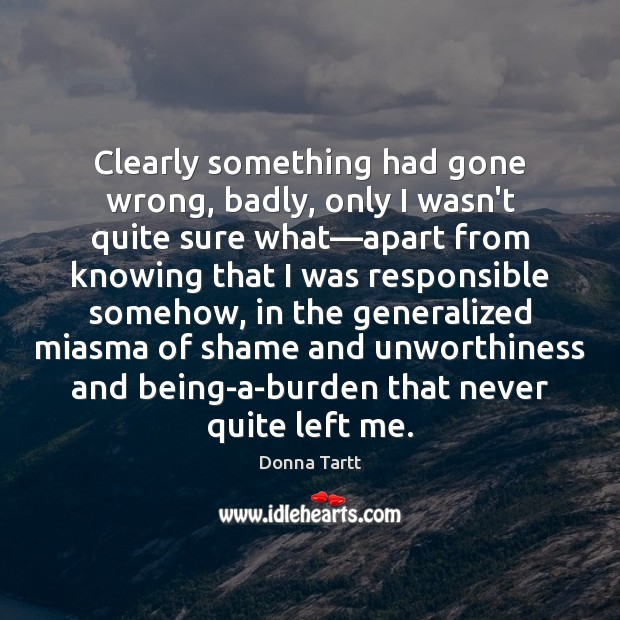 Clearly something had gone wrong, badly, only I wasn't quite sure what— Donna Tartt Picture Quote