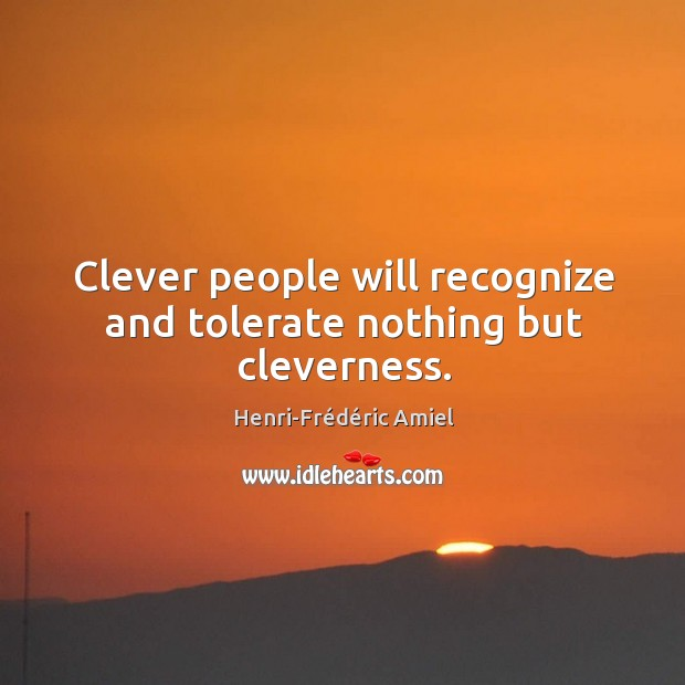 Clever people will recognize and tolerate nothing but cleverness. Image