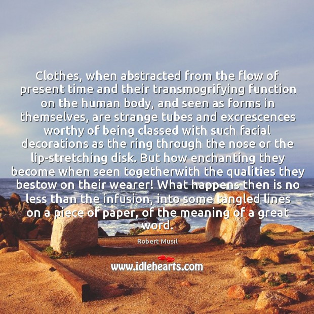 Clothes, when abstracted from the flow of present time and their transmogrifying Image