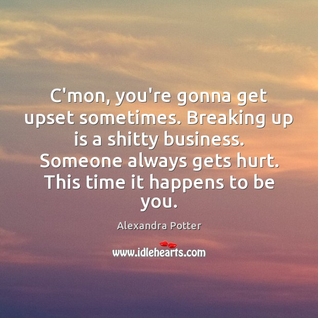 Image, C'mon, you're gonna get upset sometimes. Breaking up is a shitty business.