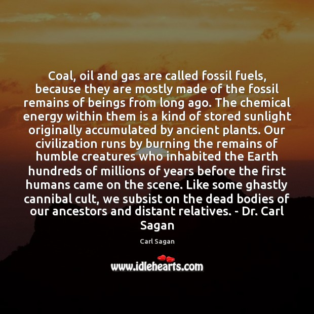 Coal, oil and gas are called fossil fuels, because they are mostly Image