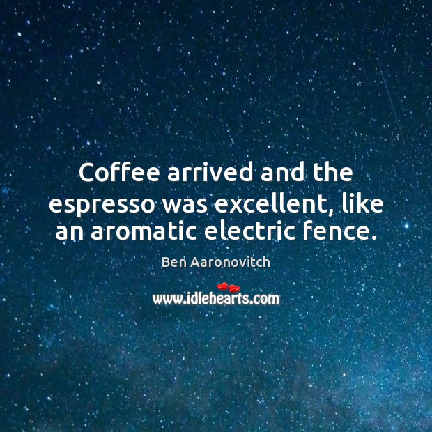 Coffee arrived and the espresso was excellent, like an aromatic electric fence. Image