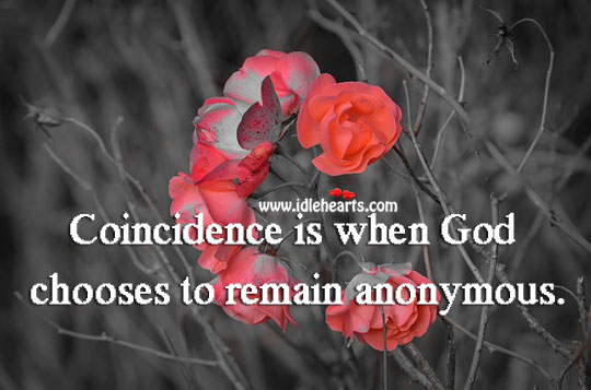 Image, Coincidence is when God chooses to remain anonymous.
