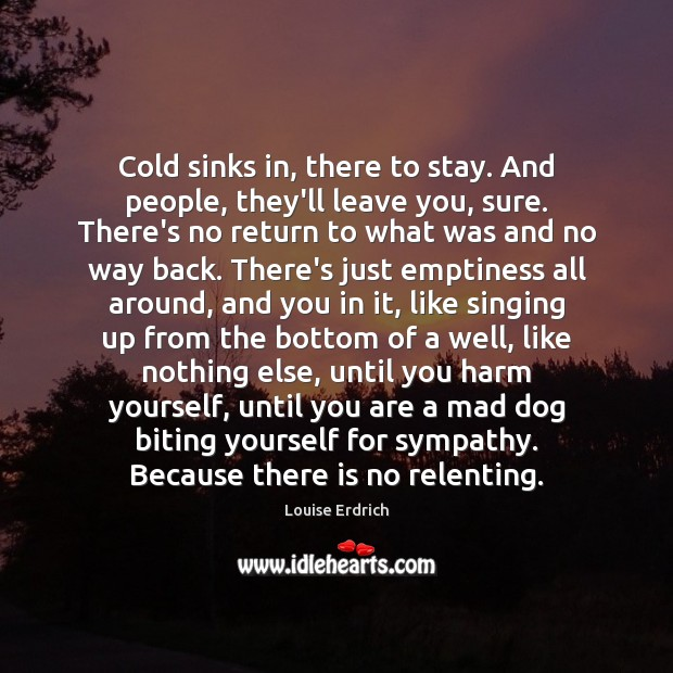Cold sinks in, there to stay. And people, they'll leave you, sure. Louise Erdrich Picture Quote