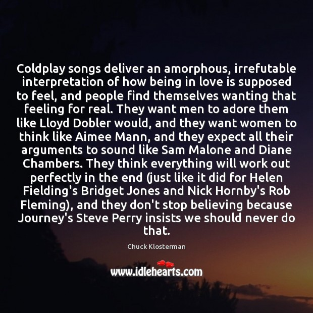 Coldplay songs deliver an amorphous, irrefutable interpretation of how being in love Image