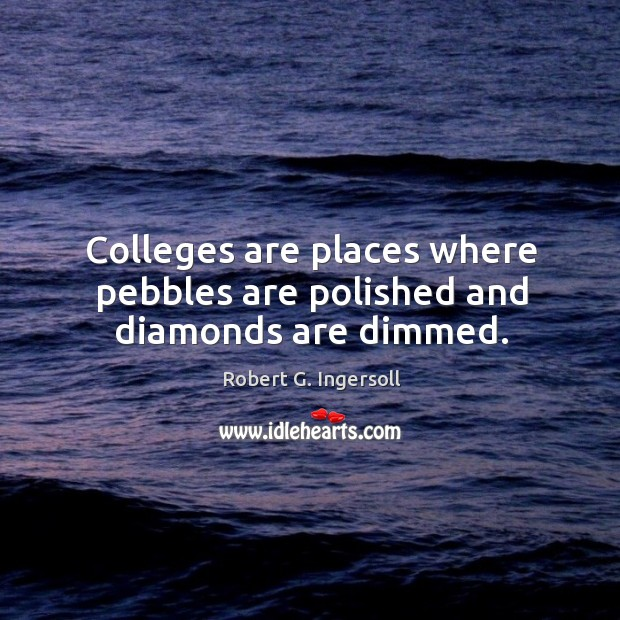 Colleges are places where pebbles are polished and diamonds are dimmed. Image