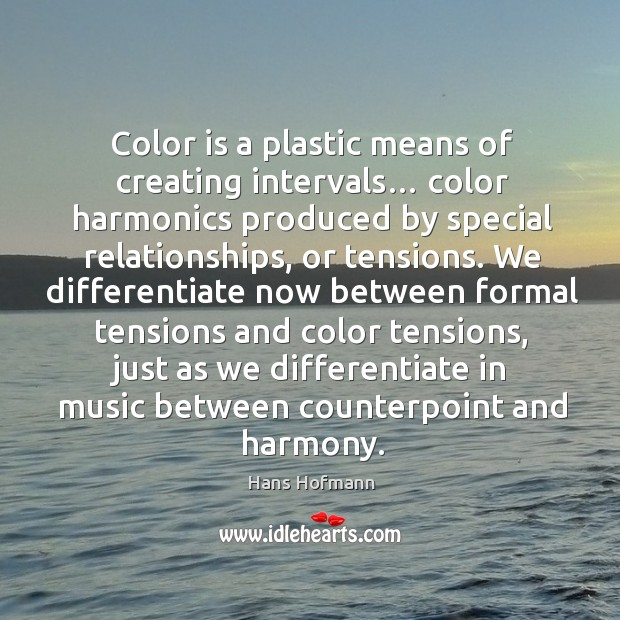 Color is a plastic means of creating intervals… Hans Hofmann Picture Quote