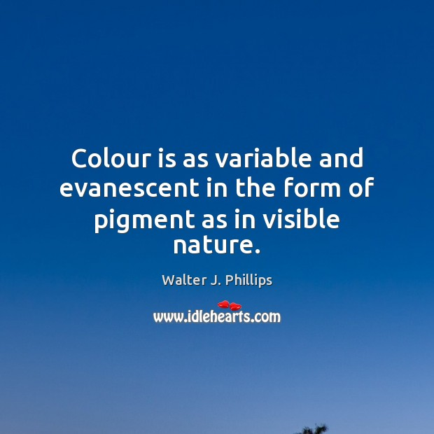 Colour is as variable and evanescent in the form of pigment as in visible nature. Image