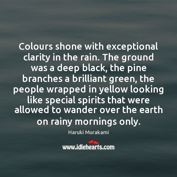 Colours shone with exceptional clarity in the rain. The ground was a Image