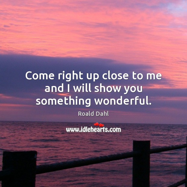 Come right up close to me and I will show you something wonderful. Roald Dahl Picture Quote