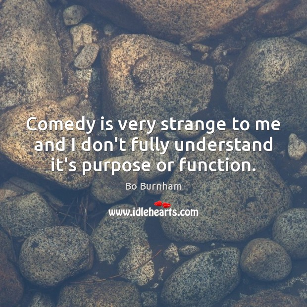 Comedy is very strange to me and I don't fully understand it's purpose or function. Bo Burnham Picture Quote