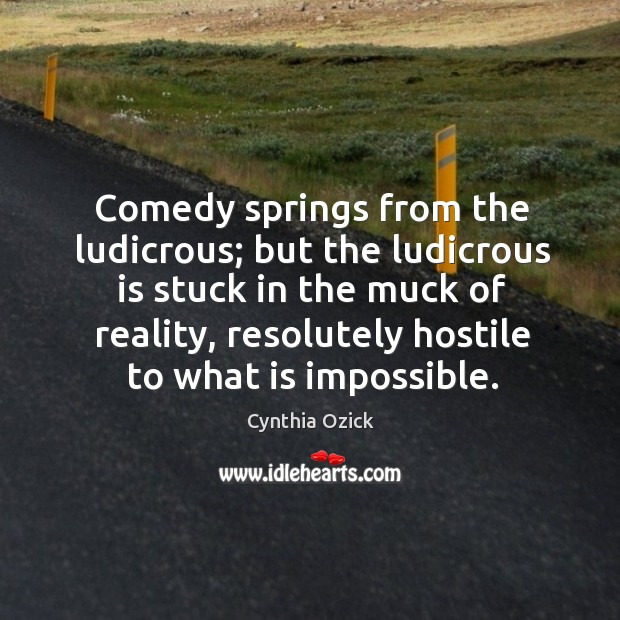 Comedy springs from the ludicrous; but the ludicrous is stuck in the Image