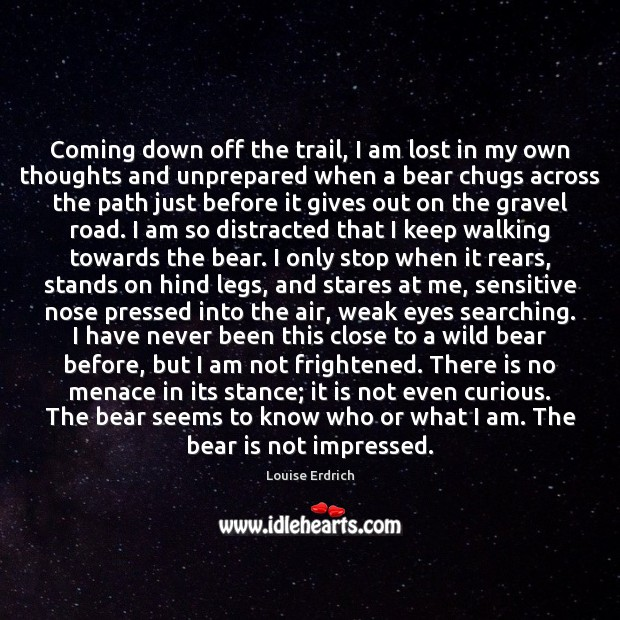 Coming down off the trail, I am lost in my own thoughts Louise Erdrich Picture Quote