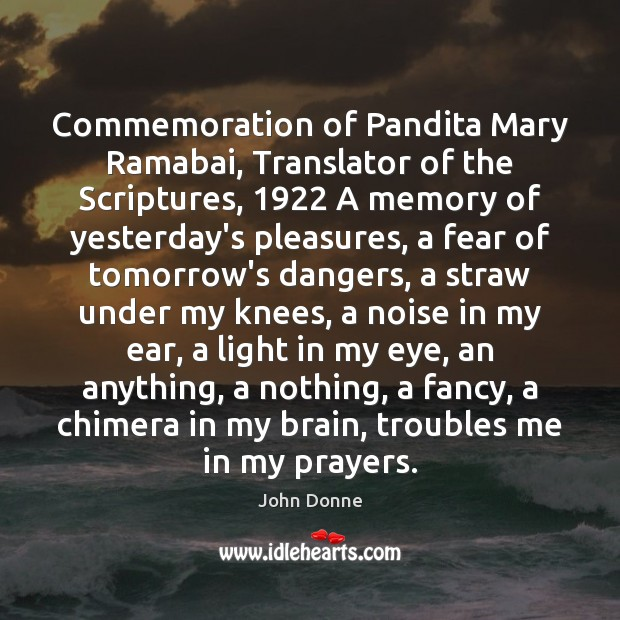 Commemoration of Pandita Mary Ramabai, Translator of the Scriptures, 1922 A memory of Image