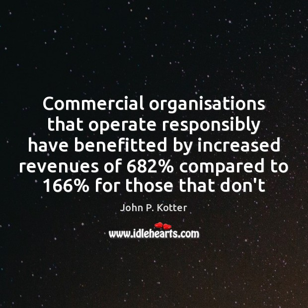 Commercial organisations that operate responsibly have benefitted by increased revenues of 682% compared Image