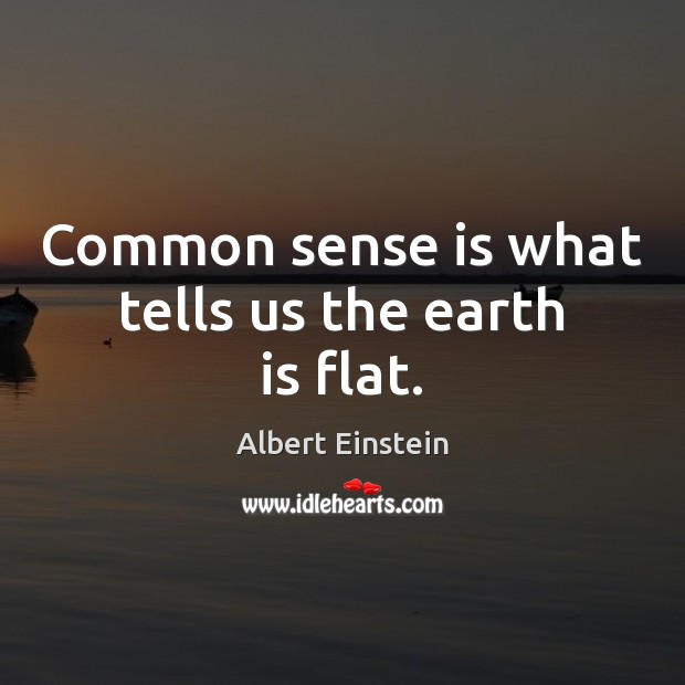 Image, Common sense is what tells us the earth is flat.