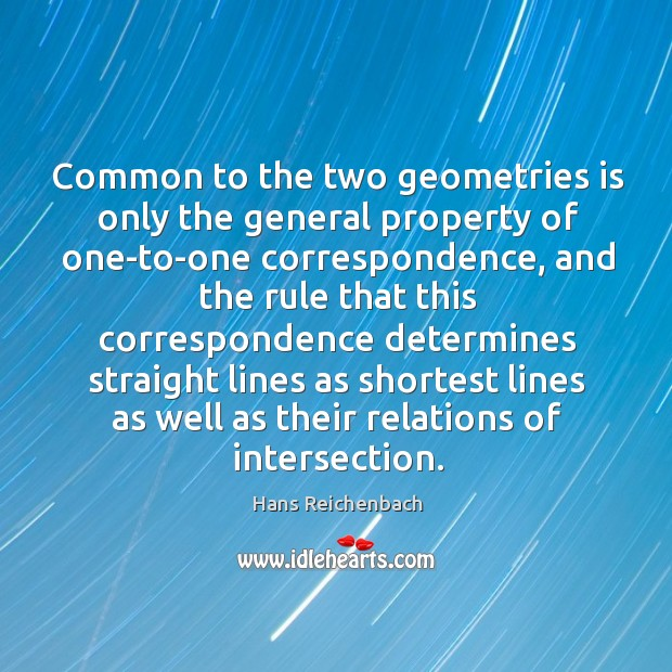 Common to the two geometries is only the general property of one-to-one Image