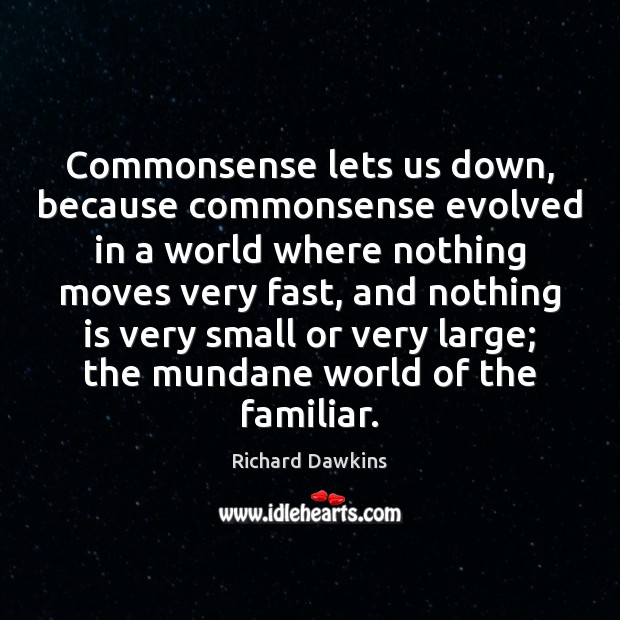 Image, Commonsense lets us down, because commonsense evolved in a world where nothing