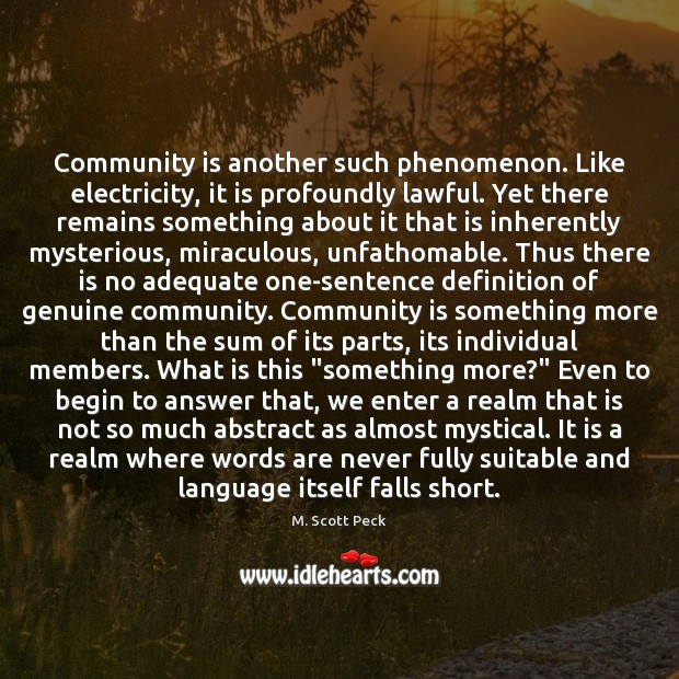 Community is another such phenomenon. Like electricity, it is profoundly lawful. Yet M. Scott Peck Picture Quote