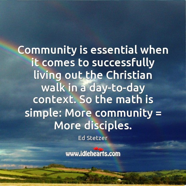 Community is essential when it comes to successfully living out the Christian Image