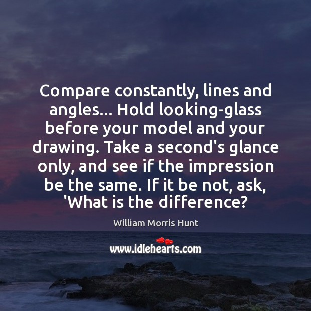 Compare constantly, lines and angles… Hold looking-glass before your model and your Compare Quotes Image
