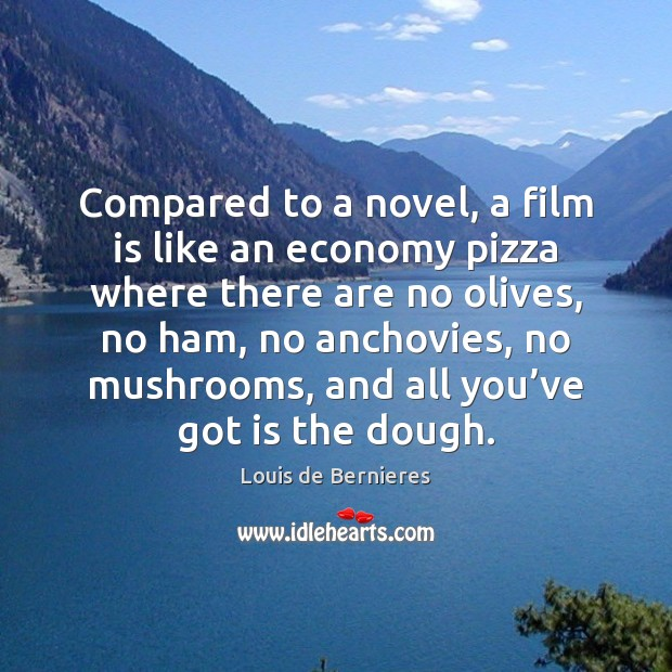 Compared to a novel, a film is like an economy pizza where Economy Quotes Image