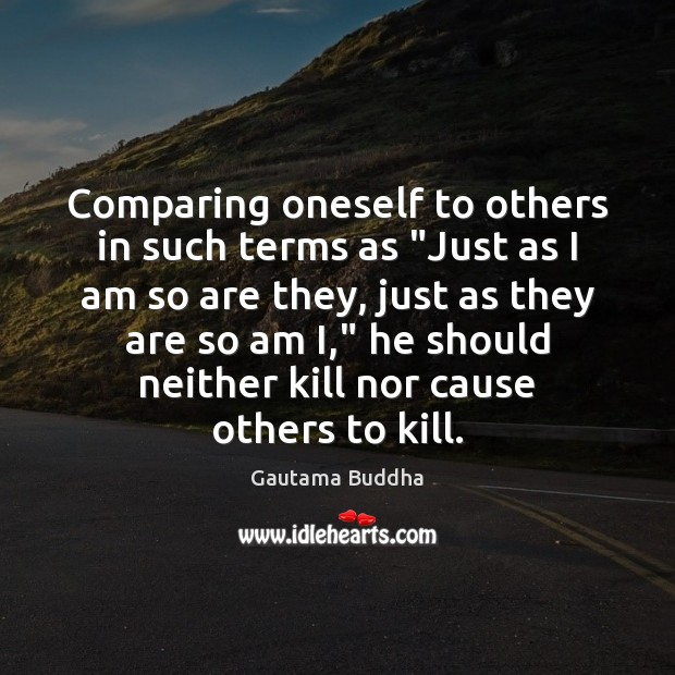 "Image about Comparing oneself to others in such terms as ""Just as I am"