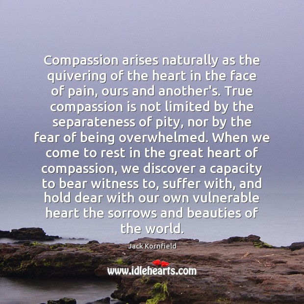 Compassion arises naturally as the quivering of the heart in the face Jack Kornfield Picture Quote