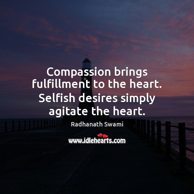 Compassion brings fulfillment to the heart. Selfish desires simply agitate the heart. Radhanath Swami Picture Quote