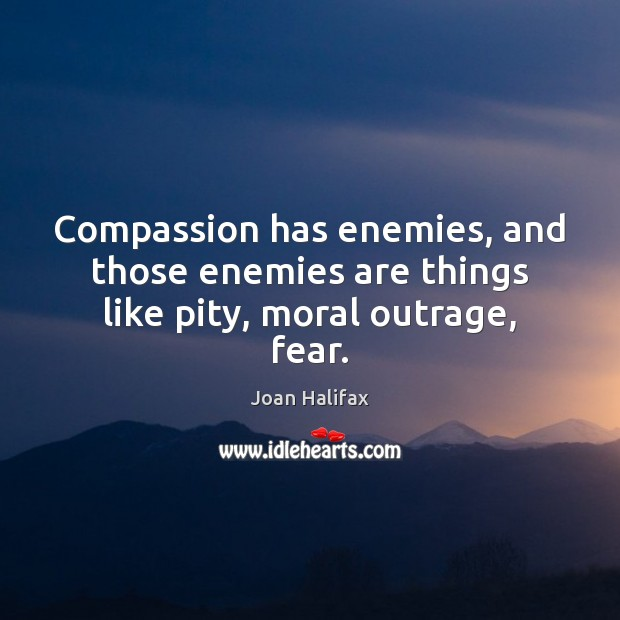 Image, Compassion has enemies, and those enemies are things like pity, moral outrage, fear.