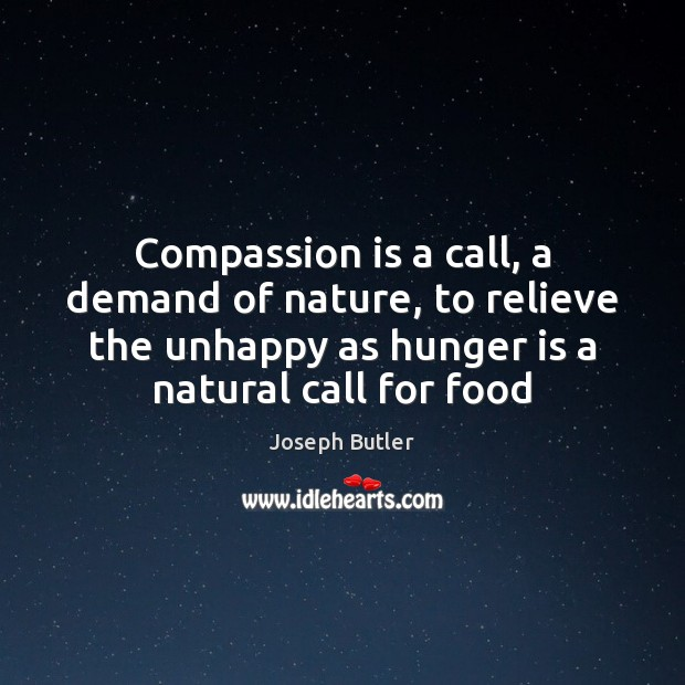 Compassion is a call, a demand of nature, to relieve the unhappy Hunger Quotes Image