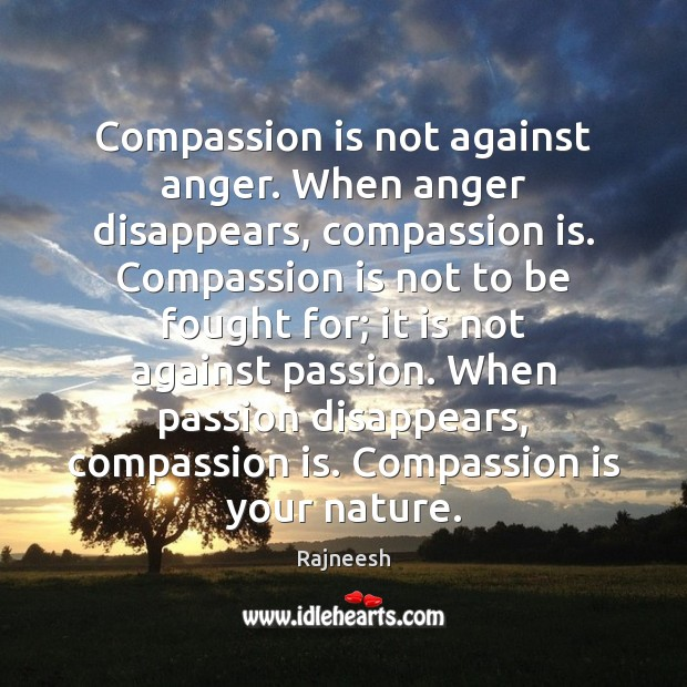 Compassion is not against anger. When anger disappears, compassion is. Compassion is Compassion Quotes Image