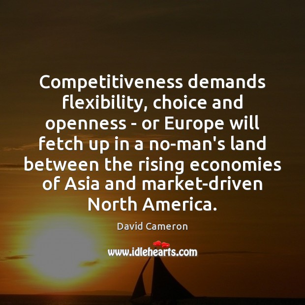 Competitiveness demands flexibility, choice and openness – or Europe will fetch up David Cameron Picture Quote