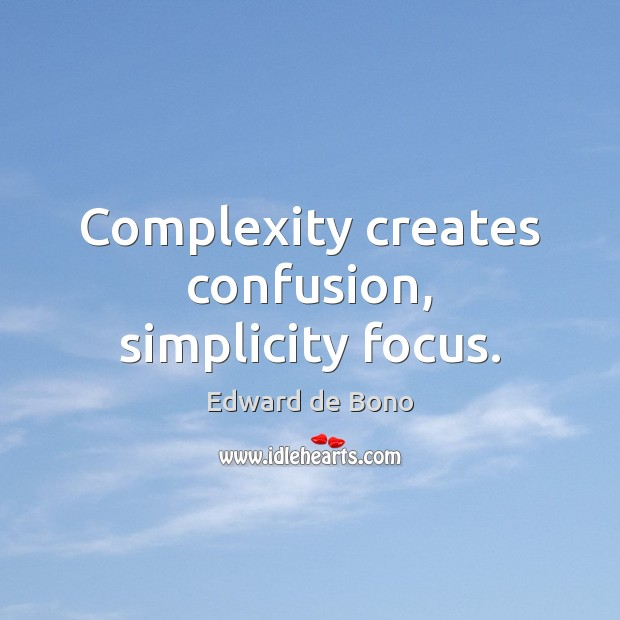 Complexity creates confusion, simplicity focus. Image