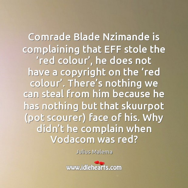 Comrade Blade Nzimande is complaining that EFF stole the 'red colour', he Image