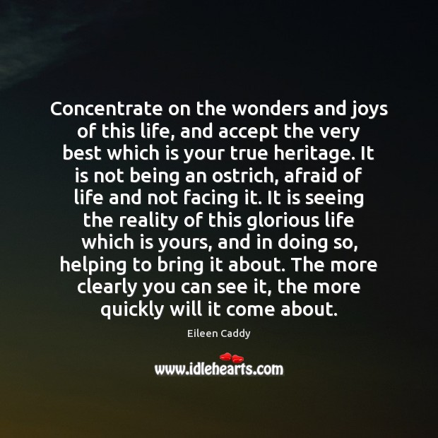 Image, Concentrate on the wonders and joys of this life, and accept the