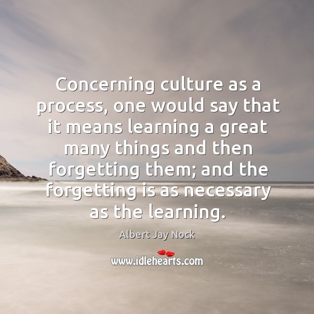 Image, Concerning culture as a process, one would say that it means learning a great many