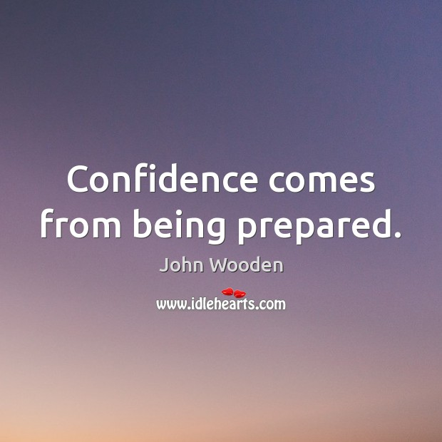 Image, Confidence comes from being prepared.