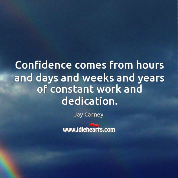 Confidence comes from hours and days and weeks and years of constant work and dedication. Image