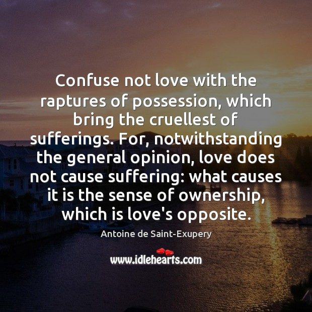 Confuse not love with the raptures of possession, which bring the cruellest Image