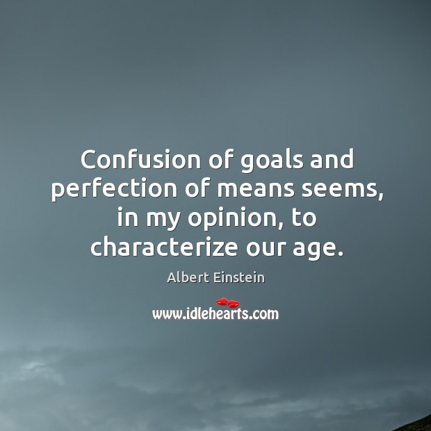 Image, Confusion of goals and perfection of means seems, in my opinion, to characterize our age.