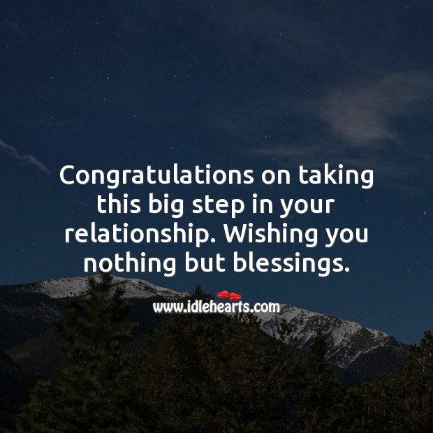 Congratulations on taking this big step in your relationship. Blessings Quotes Image