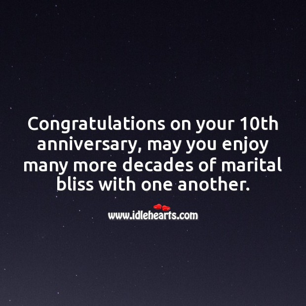 Congratulations on your 10th anniversary. 10th Wedding Anniversary Messages Image