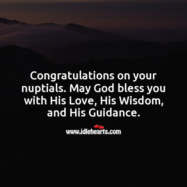 Congratulations on your nuptials. Religious Wedding Messages Image