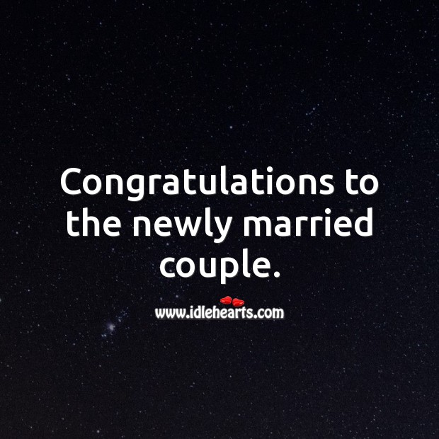 Congratulations to the newly married couple. Wedding Messages Image
