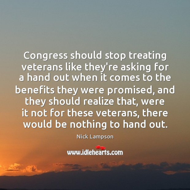 Congress should stop treating veterans like they're asking for a hand out Image