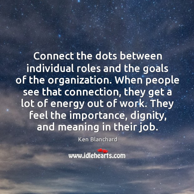 Connect the dots between individual roles and the goals of the organization. Image