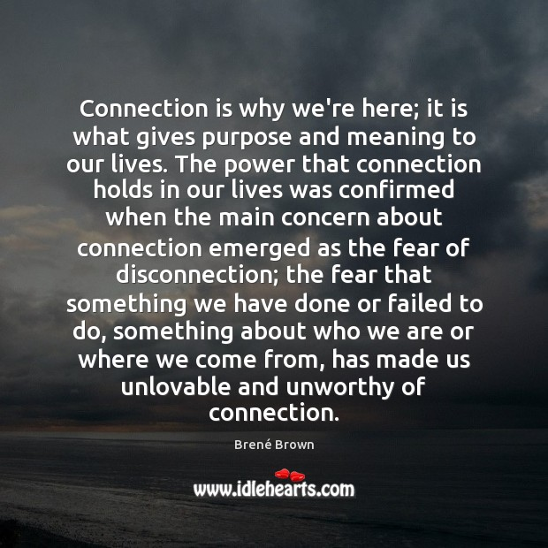 Connection is why we're here; it is what gives purpose and meaning Brené Brown Picture Quote