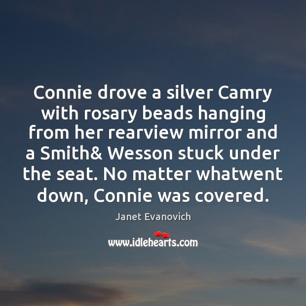 Connie drove a silver Camry with rosary beads hanging from her rearview Image